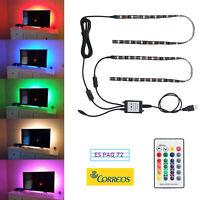 2X LED TV Retroiluminación USB LED Colorido Iluminación Tira RGB + Remoto TV PC