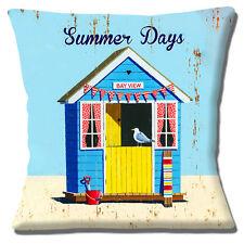 "Beach Hut Cushion Cover 16""x16"" 40cm 'Summer Days' Sand Seagull Bunting Design"