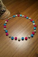 Neu unikat pink weiss blau Glas kette Halskette Collier Glasperlen Perlen