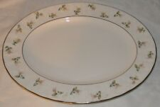 "Gorham Lady Anne 14"" Oval Serving Platter Pink Rose Bouquet Platinum Trim"