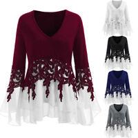 Women T-Shirt Applique Layered V-Neck Tops Lace Long Sleeve Slim Blouse L-5XL HQ