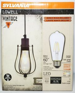 Sylvania Lowell Vintage Black 4 Inch Cage LED Dimmable Pendant Dining Room Light