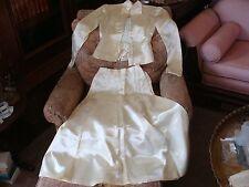 Vintage 1950s Tea Length Wedding Dress Suit Satin Ivory 2 Pc Bridal Size X-Small