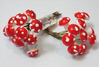 "Vtg MUSHROOM 3/8"" Spun Cotton Picks 24 Pieces #6 GERMANY Red & White Polka Dot"