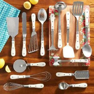 The Pioneer Woman Frontier Collection 15-Piece Kitchen Utensil Set Tools Linen