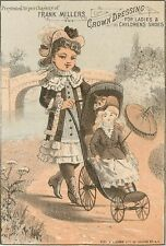 Trade Card Advertising Miller's Shoe Dressing, Pretty Little Girl & Doll in Pram