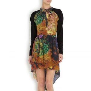 Manning Cartell Graffiti Tags Printed Silk Crepe Dress Black Size AU/UK 10 NWT
