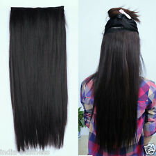"Black Color long clip on off fake Heat Resistance 26"" 160gm Hair Extensions"