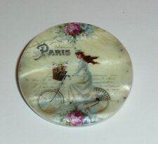 """French Lady Girl Riding Bike Bicycle Paris  Mother of Pearl Shank Button 1+3/8"""""""
