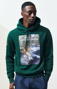 🔥 Polo Ralph Lauren Sportsman Print Green Hoodie Patch Logo XL Extra Large 🔥