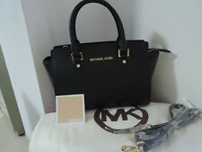 Genuine Michael Kors selma Satchel Saffiano Leather Handbag black M
