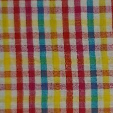 Plaid Seersucker 100% Cotton Fabric Red Blue Yellow White FREE SHIP