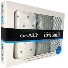 Crib Sheet 3 Pack, 100% Cotton Jersey Soft, Grey Baby Boy Girl Bedding Sheets