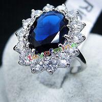 Plaqué argent luxe mode femme bleu bague de fiançailles de cristal