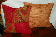 Pair of Reddish Brick Gold Beige Patchwork Decorative Print Pillows  17 x 17