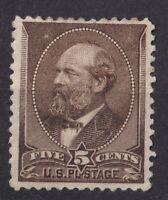 USA Stamp # 205 Mint OG LH $250 5 cent Garfield Issue c009