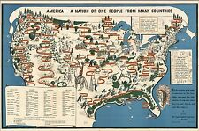 1940 pictorial map Against Intolerance America one many countries POSTER 8212
