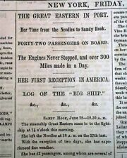 SS GREAT EASTERN Comes to America 1st TRANSATLANTIC Voyage Ends 1860 Newspaper