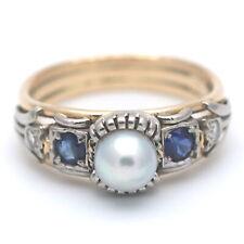 Diamant Ring 750 Gold Bicolor Perle Saphir Antik 14 Kt Handarbeit Wert 1490,-
