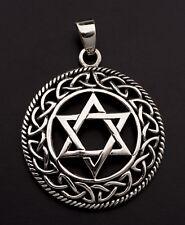 Medaille Pendentif Etoile de David Entrelacs Shatkona Argent 925 7.1g 25877 L38