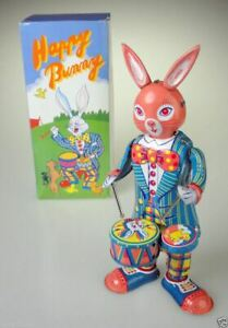 Wind Up Rabbit Happy Bunny Vintage Tin Toy Drumming Collectable Animal Gift UK