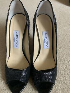 Stunning Black Sequin Jimmy Chop Peep Toe Wedges 38.5 12cm Heel