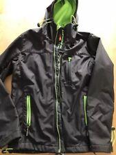 Superdry Men Grey & Green Hooded fleece Jacket Coat Size M