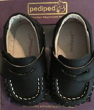 NEW BOXED PEDIPED CHARLIES BLACK LEATHER LOAFER SOFT SOLE SLIPON SHOES 0-6M