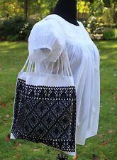 Black & White Hobo Bag Handwoven Backstrap Loom Larráinzar Mayan Chiapas Mexico