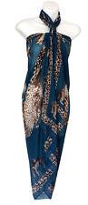 Blue Green Animal Print Sarong Pareo Scarf Wrap Swimsuit Cover Shawl Beachwear47