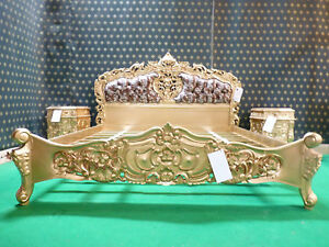 BESPOKE 6' Sophisticated Gold with Leopard Mahogany french Rococo Baroque Bed