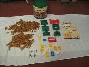 Knex Lincoln Logs Set Big L & Rocky Mountain Ranch & Container Over 300 Pieces