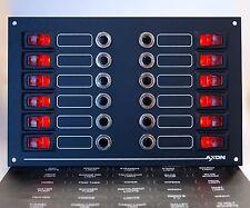 12 Way Marine Illuminated Switch & Circuit Breaker Panel, 12 or 24 volts DC