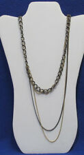 New Rocawear Chunky Chain Necklace Gun Metal Gray & Gold Tone 3 Strand OffSet