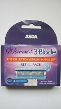 Asda Womens 3 Blade 4 Replacement Cartridges Freepost