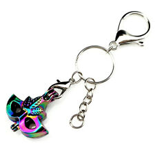 Key Chains Keychain Silver Plated Key Ring Clasp with Mask Beads Cage Y604