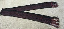 HANDWOVEN RAYON CHENILLE SCARF SHAWL ~ BLACK RED GRAY NEW