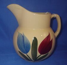 Vintage Watt Pottery Blue and Red Tulip # 16 Pitcher