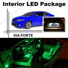 For Kia Forte 2010-2013 Green LED Interior Kit + Xenon White License Light LED