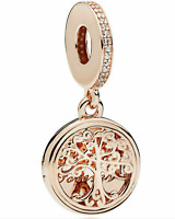Genuine Pandora Silver Rose Gold Locket Family Roots Pendant Hanging Charm ALE