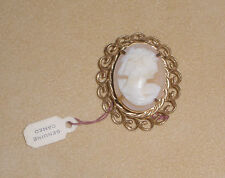 Genuine Cameo Pin set in Costume Gold Tone Metal - New with Tag