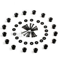 Pack of 16 End Pin Strap Buttons Locks Cushion Screws for Guitar Bass Black