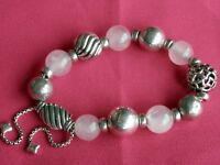 "David Yurman Adj. Sterling Silver Rose Quartz Bead Chain Popcorn Bracelet ""RARE"""