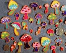 25 Pc Retro Mushrooms Lot No Sew Iron On Handcut Applique Cotton Toadstool Patch
