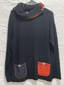 Women's Margaret Winters Black & Orange Cowl Neck Tunic Sweater Size M New NWT