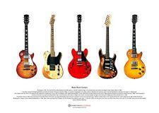 Famous Blues-Rock Guitars ART POSTER A3 size
