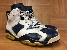 RARE🔥 Nike Air Jordan 6 VI Retro Olympic Midnight Navy White Sz 9 384664-130 LE