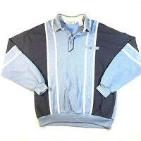 Vintage 80s Classics By Palmland Golf Banded Pocket Polo Pullover XL Blue