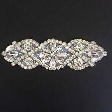 Rhinestone Applique- rhinestone Trim- Silver Bridal Hotfix Appliqué-USA SELLER