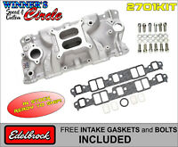 Edelbrock 2701 Perf EPS Intake SB Chevy w/ FREE Edelbrock Bolts and Gaskets